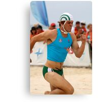 Michael races beach sprint Canvas Print