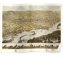 Panoramic Maps Birds eye view of the city of La Crosse Wisconsin 1867 Poster