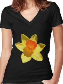 Daffodil Emblem Isolated Women's Fitted V-Neck T-Shirt