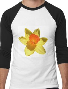 Daffodil Emblem Isolated On White Men's Baseball ¾ T-Shirt