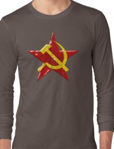 Large distressed Soviet symbol Long Sleeve T-Shirt