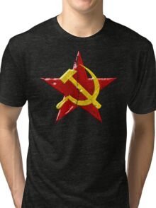 Large distressed Soviet symbol Tri-blend T-Shirt