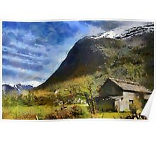 Rural landscape, Olden, Norway Poster