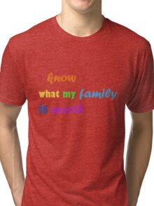 i know what my family is worth - rainbow Tri-blend T-Shirt