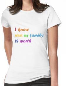 i know what my family is worth - rainbow Womens Fitted T-Shirt