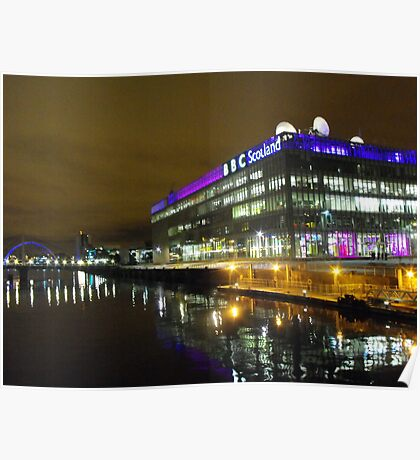 Glasgow at Night Poster