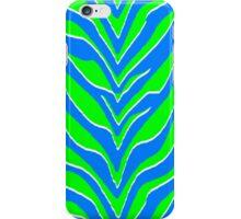 Neon Green and Blue Zebra Stripes  iPhone Case/Skin