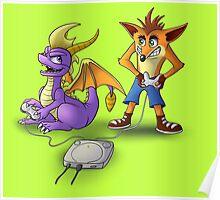 Spyro and Crash - PS1 classics Poster