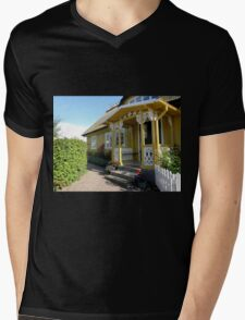 Mustard and White Porch Mens V-Neck T-Shirt