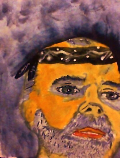 Rick in his do rag, watercolor by Anna  Lewis, blind artist