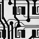 Circuit Board Close Up in Black and White by melmoth
