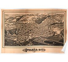 Panoramic Maps Ithaca NY Poster