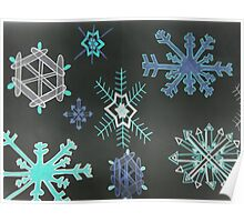 Snowflakes with black background Poster