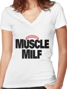 Muscle Milf T-Shirt Women's Fitted V-Neck T-Shirt