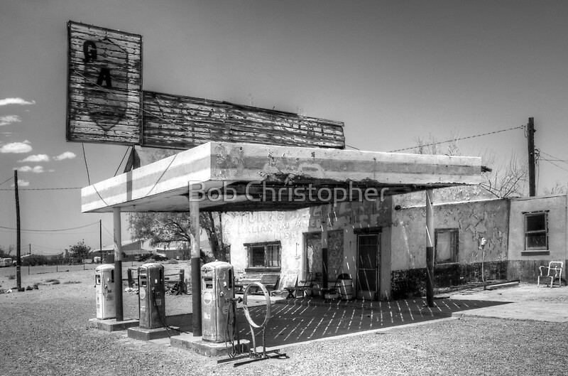 route 66 garage california posters by bob christopher. Black Bedroom Furniture Sets. Home Design Ideas