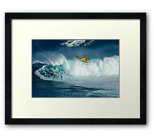 Surfing Jaws Hawaii Framed Print