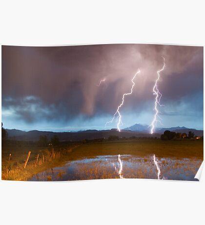 Lightning Striking Longs Peak Foothills Poster