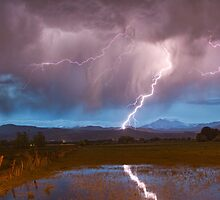 Lightning Striking Longs Peak Foothills 2 by Bo Insogna