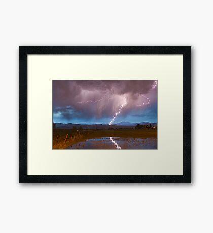 Lightning Striking Longs Peak Foothills 2 Framed Print