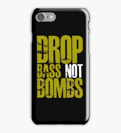 Drop Bass Not Bombs (Golden) iPhone Case/Skin