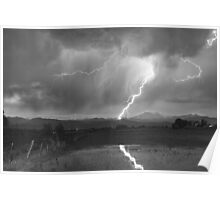 Lightning Striking Longs Peak Foothills 2BW Poster
