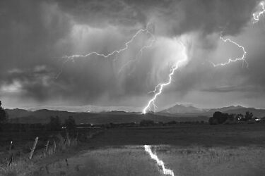 Lightning Striking Longs Peak Foothills 2BW by Bo Insogna