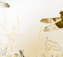 Gold Dragonfly Art Sticker