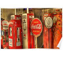 Vintage Gasoline Pumps Poster