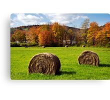 Fall Hay Bales Landscape Canvas Print