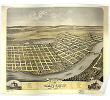 Panoramic Maps Bird's eye view of the city of Saint Cloud Stearns County Minnesota 1869 Poster
