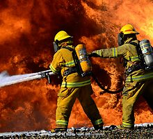 Firefighters In Action by Bob Christopher