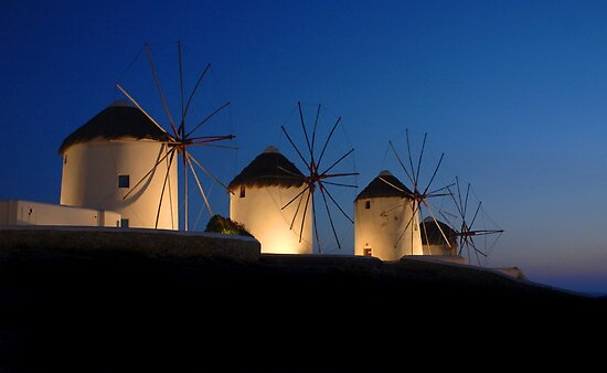 Windmills At Mykonos by Bob Christopher