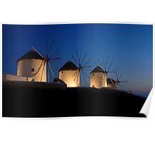 Windmills At Mykonos Poster