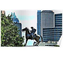 Texas Cowboy Rides Horseback At Austin State Capitol Poster