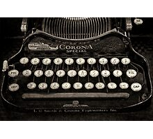 Vintage Typewriter Keyboard Photographic Print