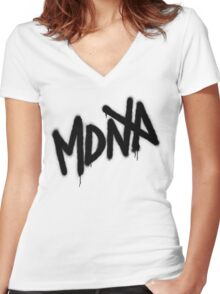 MDNA Tag (Black) Women's Fitted V-Neck T-Shirt