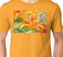Flamed Lilies and Droplets of Water Unisex T-Shirt
