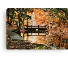 Autumn Bridge Landscape Canvas Print