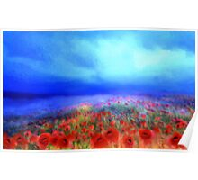 Poppies in the mist'... Poster
