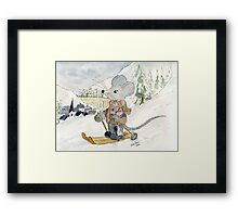 Skiing Mouse Framed Print