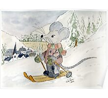 Skiing Mouse Poster