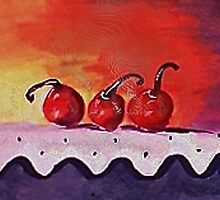 Opps only 3 cherries left, watercolor by Anna  Lewis, blind artist