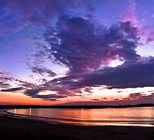 Panoramic spectacular sunset in La Caleta, Cadiz, Spain by Martin Stringer
