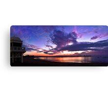 Panoramic spectacular sunset in La Caleta, Cadiz, Spain Canvas Print