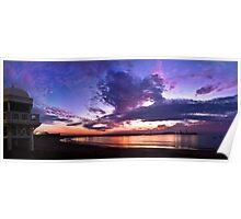 Panoramic spectacular sunset in La Caleta, Cadiz, Spain Poster