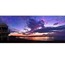 Panoramic spectacular sunset in La Caleta, Cadiz, Spain Photographic Print