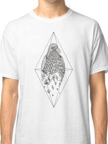 Geometric Crow in a diamond (tattoo style- Black and White version) Classic T-Shirt