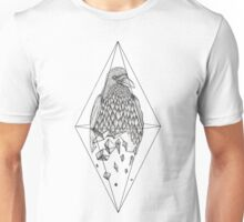 Geometric Crow in a diamond (black and white version) Unisex T-Shirt