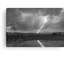 Lightning Striking Longs Peak Foothills  3BW Canvas Print