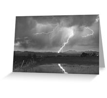 Lightning Striking Longs Peak Foothills  3BW Greeting Card